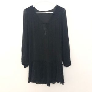 Free People 6 Silk Sheer Long Sleeve Tunic Black